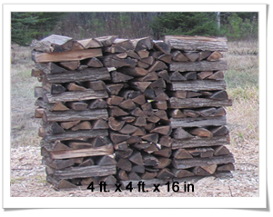 4ft x 4 ft x 16 in firewood stack
