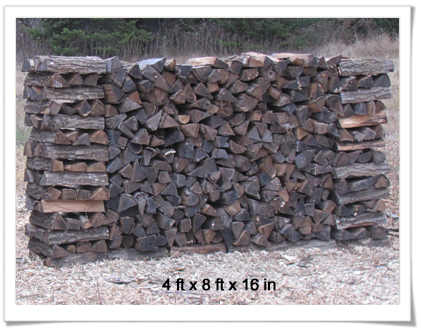 4ft x 8 ft x 16 in firewood stack